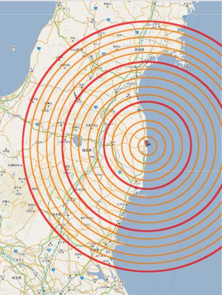 福島 第1原子力発電所からの距離(小)