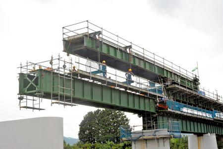杣川きょうりょうはしげた設置工事 - 2014.9.5 12.56 - 滝口信之さん(あさひ)