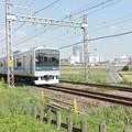 Photos: 小田急線と秋の田んぼとまっすぐの農道