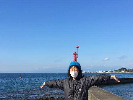 マリンボウ恒例、赤灯台ちょんまげをあかねーさんもやってみた(笑)