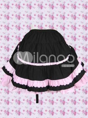 ブラック  ピンク フリル ロリータ スカート