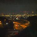 写真: 桃花台から見た、夜の小牧ジャンクションと名駅ビル群(2016年6月、フィルター有り) - 4