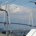 あおなみ線金城ふ頭駅のホームから見た、名港トリトン「名港中央大橋」 - 2