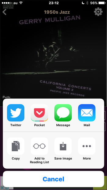 AccuRadio 2.3.2:共有メニューに画像保存ボタン - 2