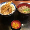 丼丼亭:天丼とミニ麺(温かい蕎麦)のセット(サービスセット)