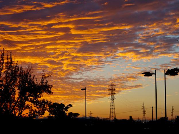 夕焼けを浴びた鱗(うろこ)雲と鉄塔 - 1
