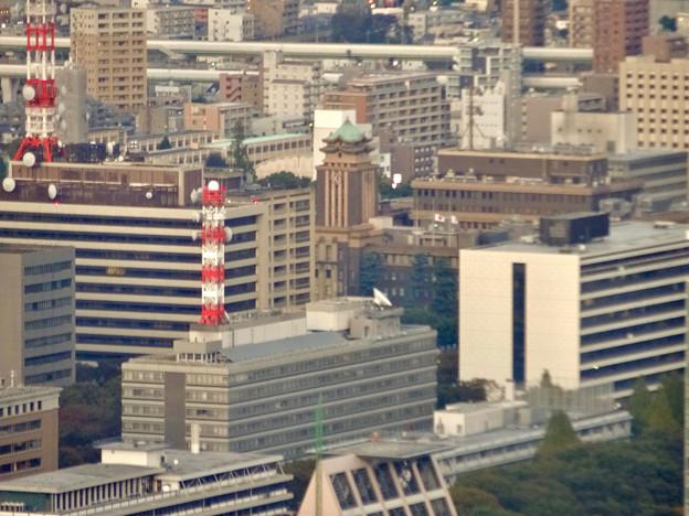 ミッドランドスクエア「スカイプロムナード」から見た景色(夕方) - 82:名古屋市役所