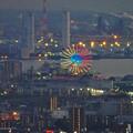 写真: ミッドランドスクエア「スカイプロムナード」から見た景色(夕方) - 94:シートレインランドの観覧車のイルミネーション