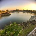 落合公園:水抜き中の落合池(広角レンズ使用)