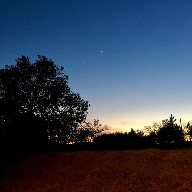 iPhoneで撮影した、三日月と並んで輝く「宵の明星」(金星) - 1