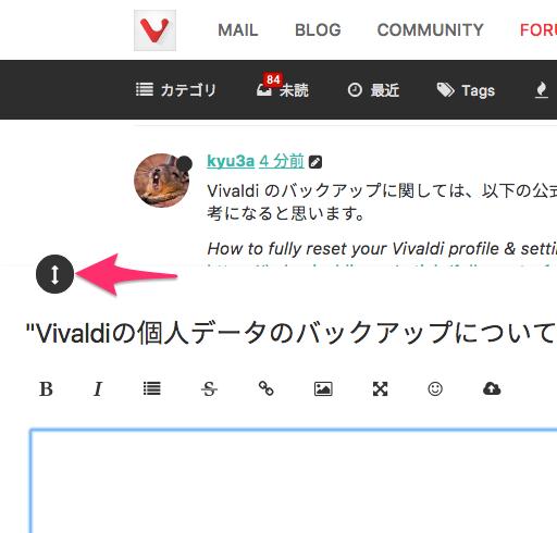 Vivaldi公式フォーラム:入力欄の大きさ変更ボタン - 2