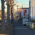 写真: 八田川沿いから見た王子製紙の煙突 - 3