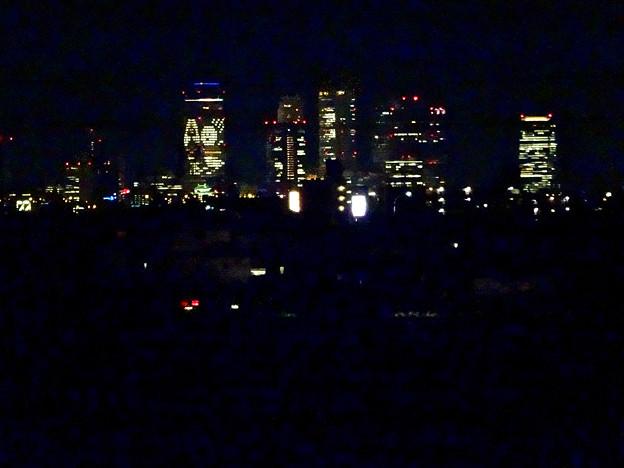大池緑地公園から見た、夜の名駅ビル群 - 5