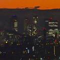 アピタ高蔵寺店屋上から見た景色(夕暮れ時) - 7:王子製紙の煙突越しに見えた名駅ビル群