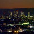 アピタ高蔵寺店屋上から見た景色(夕暮れ時) - 23:王子製紙の煙突越しに見えた名駅ビル群