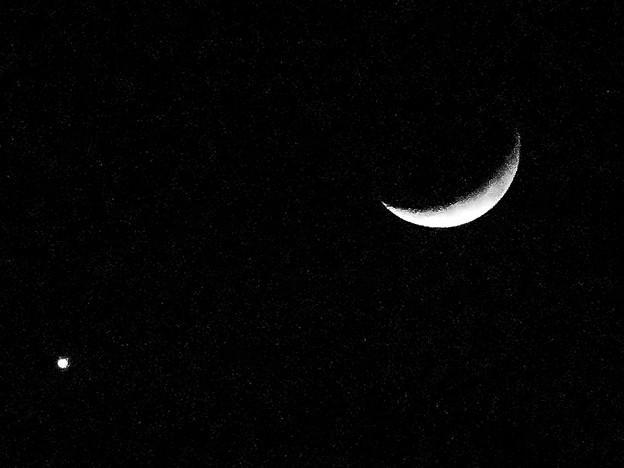 並んで輝く月と金星(2017年1月2日) - 2