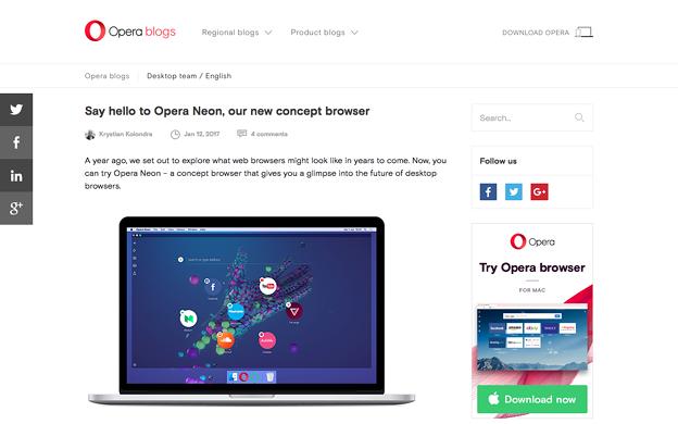Operaの新しいコンセプトブラウザ「Opera Neon」がリリース! - 38:OSフルスクリーンモードにすると、プレゼンテーションモードに!?