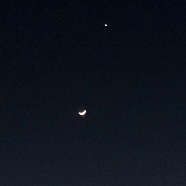 並んで輝く月と金星 - 3