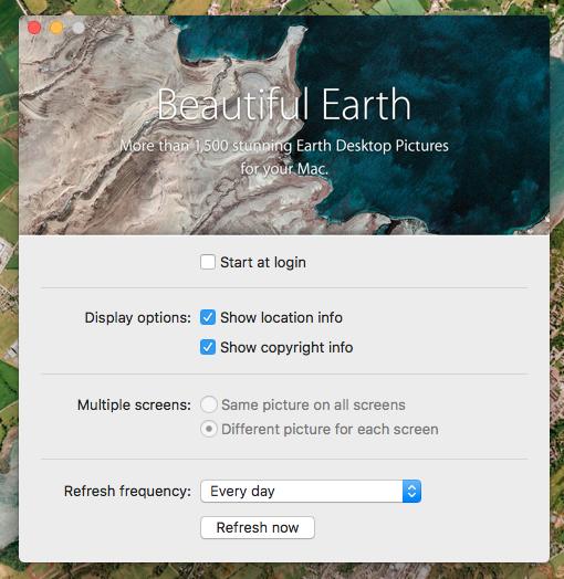 一定間隔ごとに衛星写真から作られた壁紙を切り替えるMac用アプリ「Beautiful Earth」- 3:設定画面