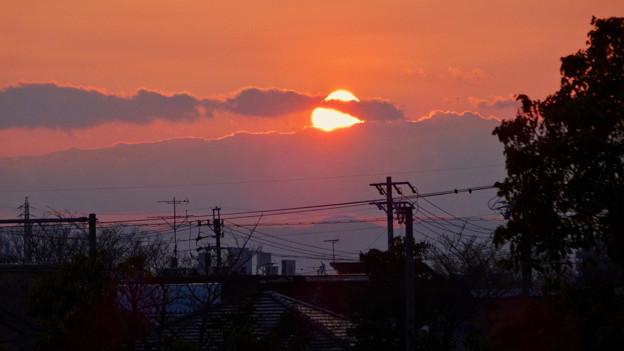 落合公園から見た沈む夕日 - 1