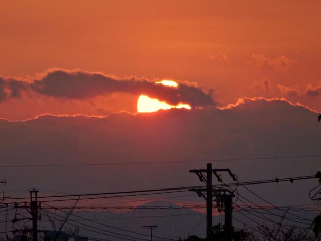 落合公園から見た沈む夕日 - 3