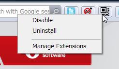 Operaエクステンションボタンを右クリック(拡大)