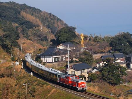 DD51 サロンカーなにわ  山陰本線泊~青谷03