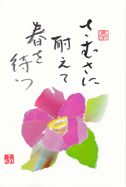 チラシちぎり絵(寒中見舞い:椿)IMG_0122 by ふうさん