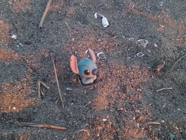 浜辺のスティッチ。前とちょっと違う。