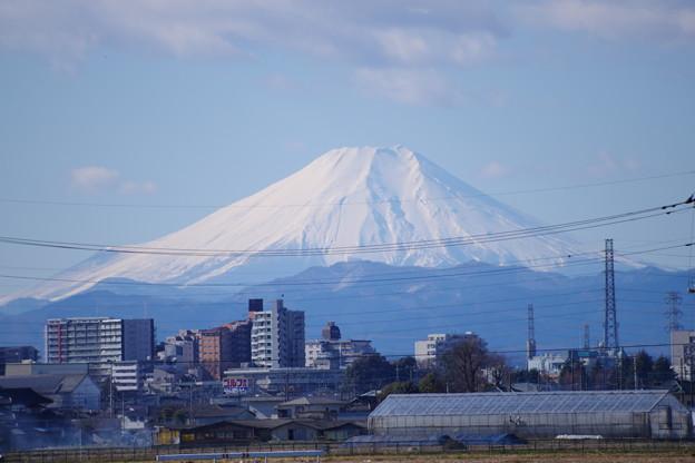 川越市街地越しに見える富士山