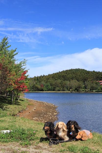 女神湖畔でパチリ
