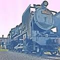 写真: 豊後森機関庫と蒸気機関車