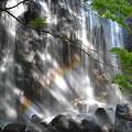 虹が 達沢の滝に