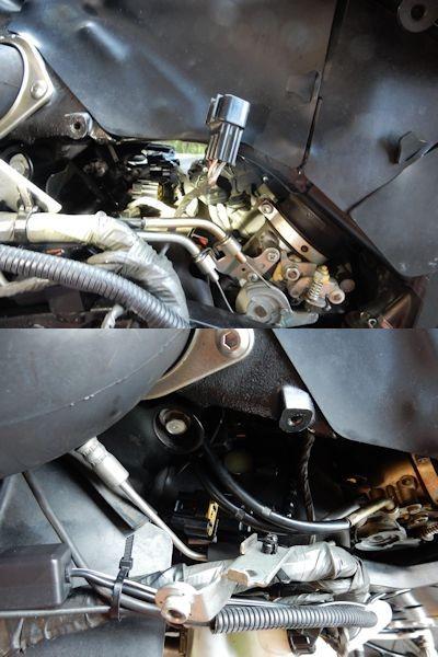 写真: 6.左側エアサクションバルブカバー手前ボルトにつく黒カプラーとサブフレームの黒カプラーを外す