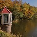 写真: 赤い屋根の取水塔
