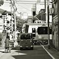 写真: 路地裏の踏切