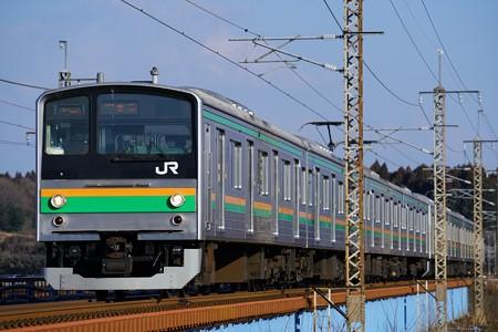 205系@蒲須坂鉄橋