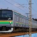 写真: 205系@蒲須坂鉄橋