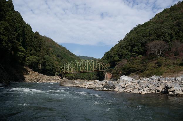 保津川下り~鉄橋を何度もくぐります