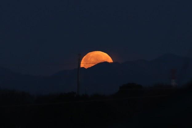 写真: 夜明け前、月の入り