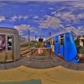 静岡鉄道静岡清水線 入江岡駅ホーム 360度パノラマ写真 HDR