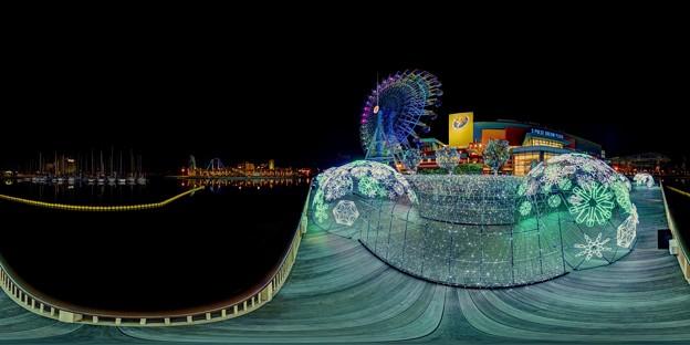 写真: 「清水港 海と光の空間」 清水港・エスパルスドリームプラザのイルミネーション 360度パノラマ写真(1)