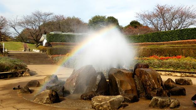 公園の噴水に虹が^^