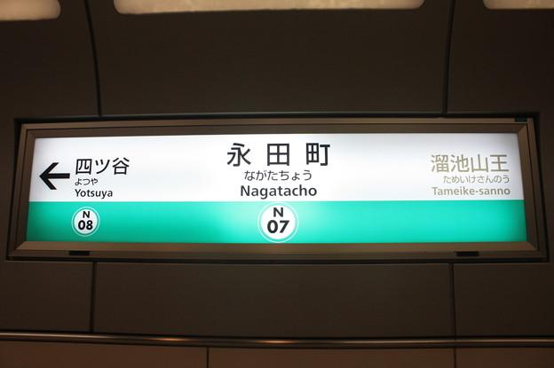 東京メトロ南北線 永田町駅 駅名標