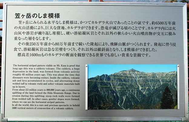 18.笠ヶ岳のしま模様の説明看板 その2