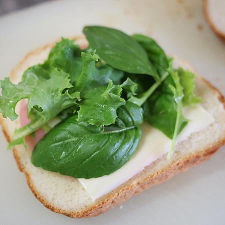 ベランダから葉っぱを取ってきてチーズハムサンド作り