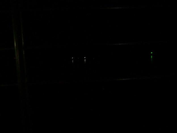 夜明け前、真っ暗な海に電気ウキの光。