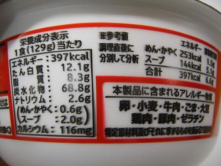 寿がきや カップ赤からラーメン赤5番 栄養成分等