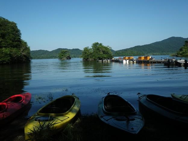 桧原湖のボート乗り場