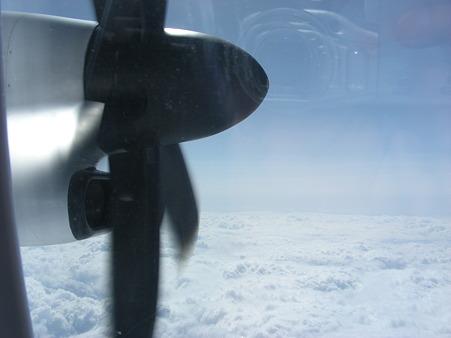乗った飛行機はプロペラ機